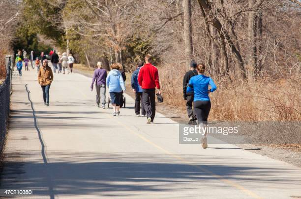 exercising outdoors - london ontario stock photos and pictures
