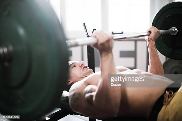 Exercising triceps muscles on bench press