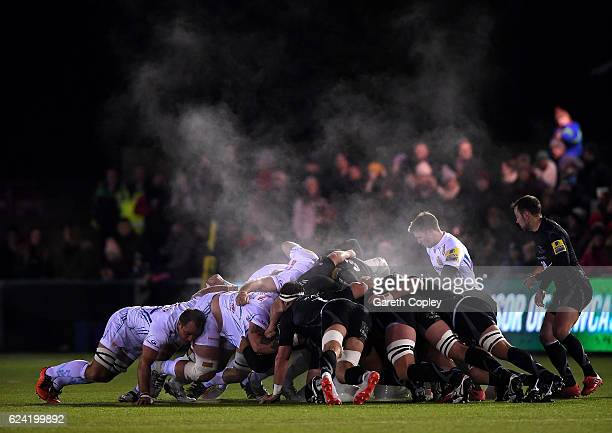 Exeter and Newcastle scrum down during the Aviva Premiership match between Newcastle Falcons and Exeter Chiefs at Kingston Park on November 18 2016...