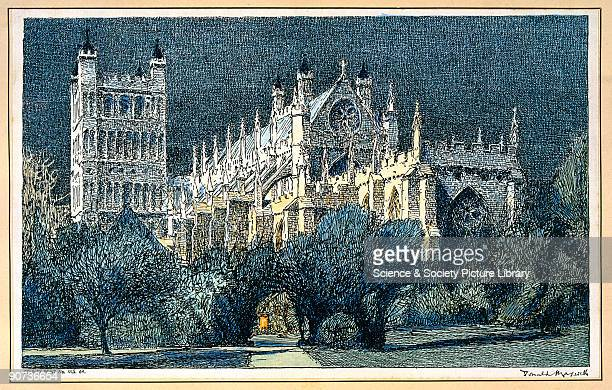 Exeter Cathedral Exeter Cathedral SR carriage print by Donald Maxwell removed from London South Western Railway TriComposite Carriage No 3598 at...