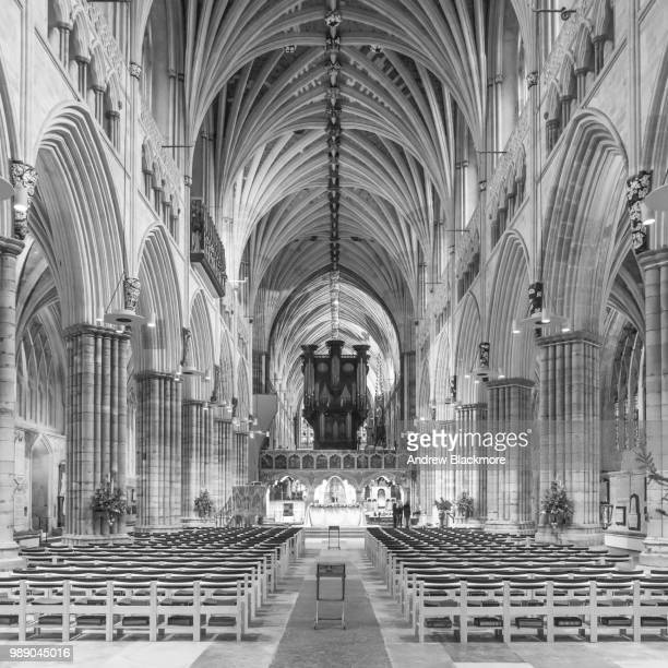 Exeter Cathedral Nave & C17th Century Organ (sq.) b&w