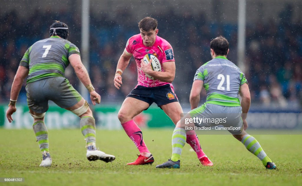 Exeter Cheifs' Ollie Devoto in action during the Anglo Welsh Cup Semi Final match between Exeter Chiefs and Newcastle Falcons at Sandy Park on March 11, 2018 in Exeter, England.