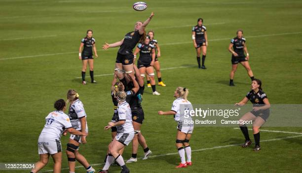 Exeter Chiefs' Abby Fleming claims the lineout during the Allianz Premier 15s match between Exeter Chiefs Women and Sale Sharks Women at Sandy Park...