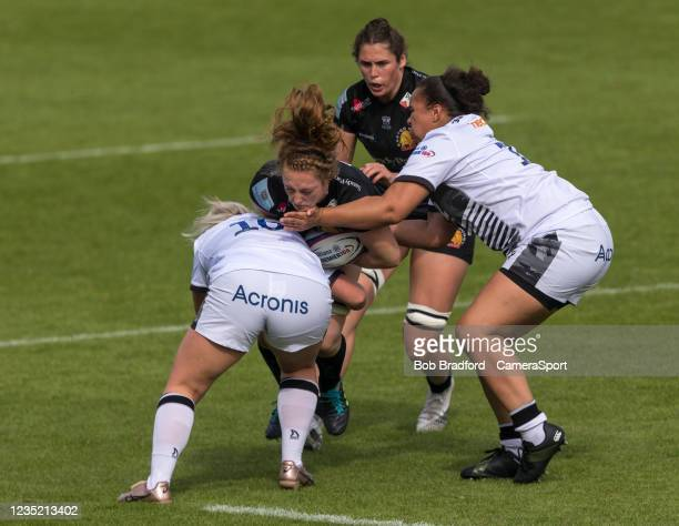 Exeter Chiefs' Abby Fleming in action during the Allianz Premier 15s match between Exeter Chiefs Women and Sale Sharks Women at Sandy Park on...