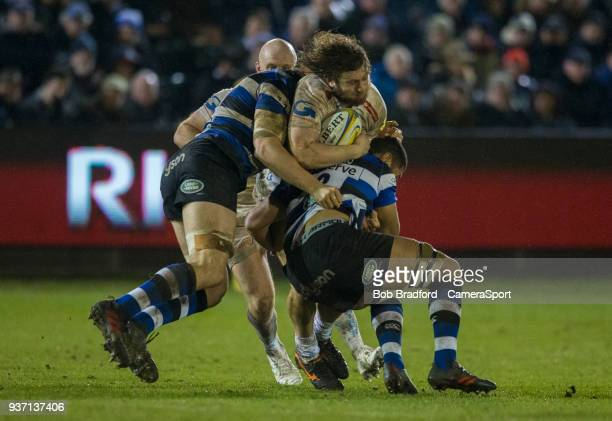 Exeter Chiefs' Alec Hepburn is tackled by Bath Rugby's Taulupe Faletau during the Aviva Premiership match between Bath Rugby and Exeter Chiefs at...
