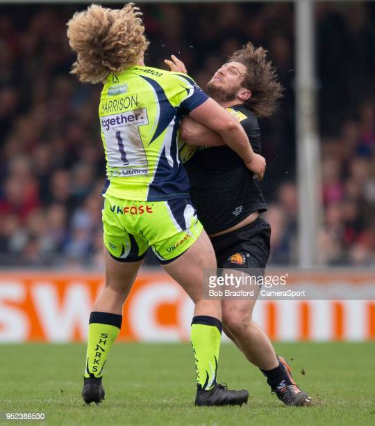 Exeter Chiefs' Alec Hepburn is tackled by Sale Sharks' Ross Harrison during the Aviva Premiership match between Exeter Chiefs and Sale Sharks at...