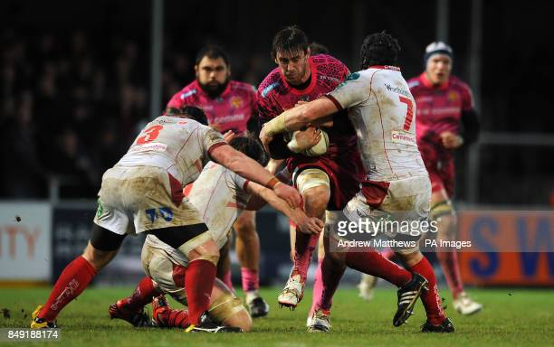 Exeter Chiefs' Ally Muldowney runs into a tackle from Scarlets' Johnathan Edwards and Samson Lee during the Heineken Cup Pool Five match at Sandy...