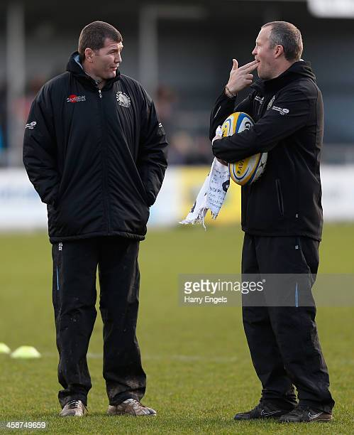 Exeter Chiefs assistant coach Rob Hunter jokes with head coach Rob Baxter before kick off during the Aviva Premiership match between Exeter Chiefs...
