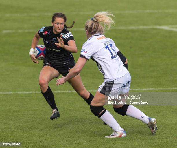Exeter Chiefs' Caitlin Lewis in action during the Allianz Premier 15s match between Exeter Chiefs Women and Sale Sharks Women at Sandy Park on...