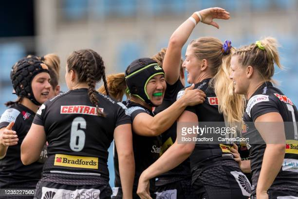 Exeter Chiefs celebrate a try during the Allianz Premier 15s match between Exeter Chiefs Women and Sale Sharks Women at Sandy Park on September 12,...