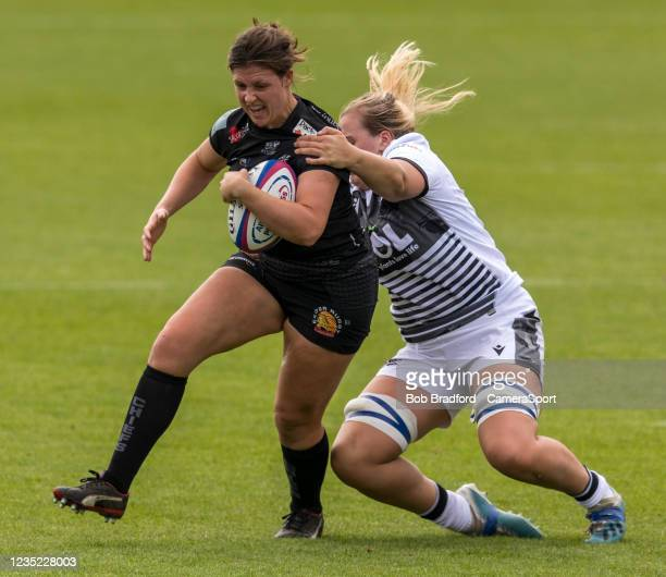 Exeter Chiefs' Daleaka Menin in action during the Allianz Premier 15s match between Exeter Chiefs Women and Sale Sharks Women at Sandy Park on...