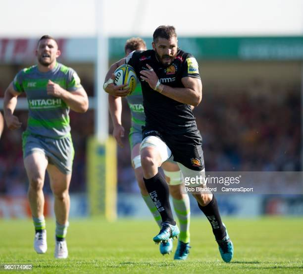 Exeter Chiefs' Don Armand in action during the Aviva Premiership Semi Final between Exeter Chiefs and Newcastle Falcons at Sandy Park on May 19 2018...