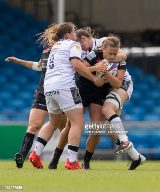Exeter Chiefs' Emily Tuttosi in action during the Allianz Premier 15s match between Exeter Chiefs Women and Sale Sharks Women at Sandy Park on...