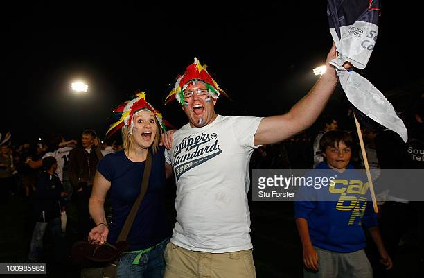 Exeter Chiefs fans celebrate on the final whistle after the RFU Championship final between Bristol and Exeter Chiefs at the Memorial stadium on May...