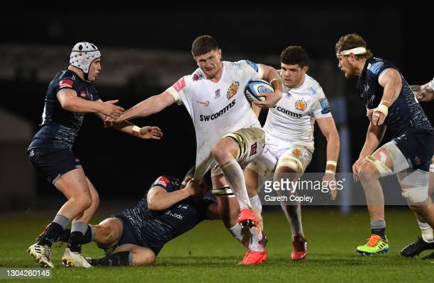 Exeter Chiefs forward Jacques Vermeulen on the charge through the Sale defence during the Gallagher Premiership Rugby match between Sale and Exeter...