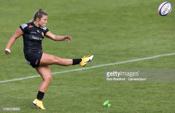 Exeter Chiefs' Gabby Cantorna kicks a penalty during the Allianz Premier 15s match between Exeter Chiefs Women and Sale Sharks Women at Sandy Park on...