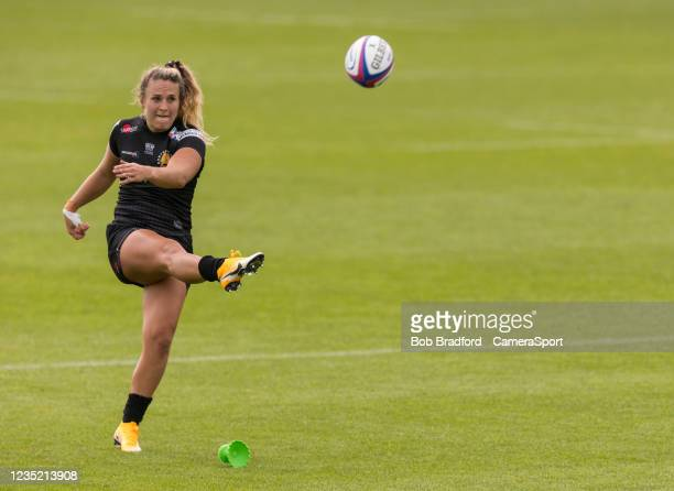 Exeter Chiefs' Gabby Cantorna kicks at goal during the Allianz Premier 15s match between Exeter Chiefs Women and Sale Sharks Women at Sandy Park on...