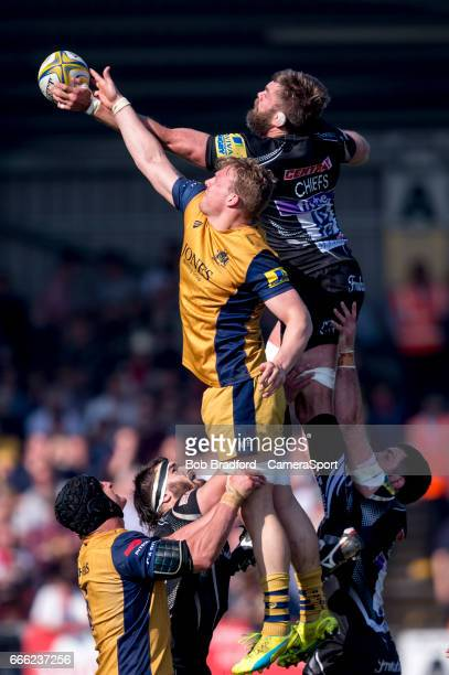 Exeter Chiefs' Geoff Parling contests a line out during the Aviva Premiership match between Exeter Chiefs and Bristol Rugby at Sandy Park on April 8...