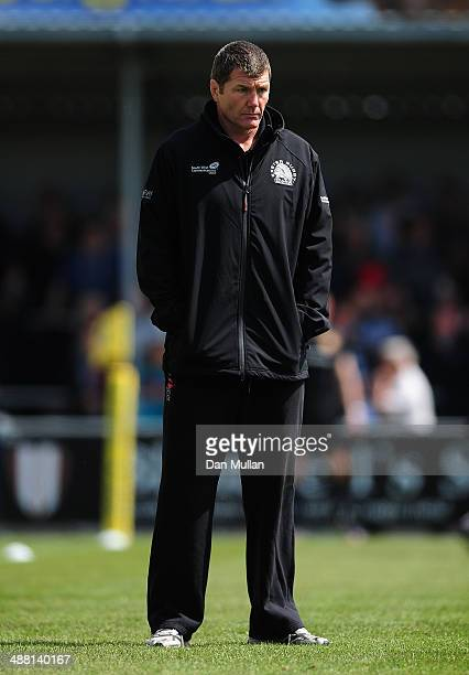 Exeter Chiefs Head Coach Rob Baxter looks on ahead of the Aviva Premiership match between Exeter Chiefs and Harlequins at Sandy Park on May 4 2014 in...