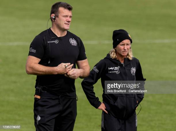 Exeter Chiefs' Head Coach Susie Appleby and Exeter Chiefs Womens' Assistant Coach Tom Hayes during the Allianz Premier 15s match between Exeter...