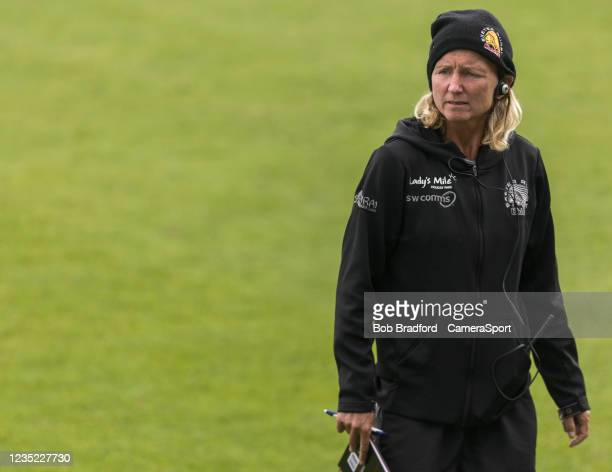 Exeter Chiefs' Head Coach Susie Appleby during the Allianz Premier 15s match between Exeter Chiefs Women and Sale Sharks Women at Sandy Park on...