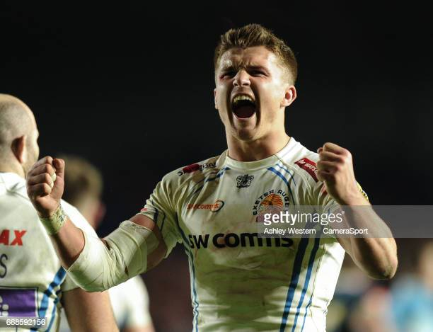 Exeter Chiefs' Henry Slade celebrates at the final whistle after their 3926 victory in the Aviva Premiership match against Harlequins at Twickenham...