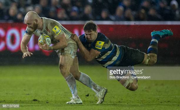 Exeter Chiefs' Jack Yeandle is tackled by Bath Rugby's Elliott Stooke during the Aviva Premiership match between Bath Rugby and Exeter Chiefs at...
