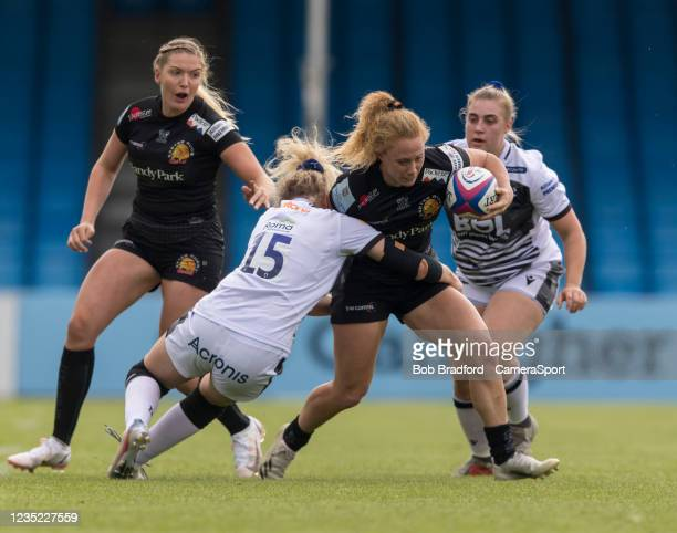 Exeter Chiefs' Jennine Duncan in action during the Allianz Premier 15s match between Exeter Chiefs Women and Sale Sharks Women at Sandy Park on...
