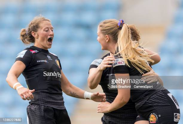 Exeter Chiefs' Kate Zackary celebrates after her team score during the Allianz Premier 15s match between Exeter Chiefs Women and Sale Sharks Women at...