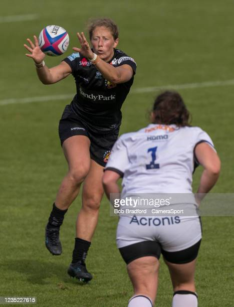 Exeter Chiefs' Kate Zackary in action during the Allianz Premier 15s match between Exeter Chiefs Women and Sale Sharks Women at Sandy Park on...