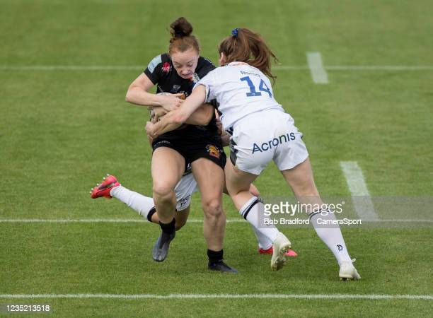Exeter Chiefs' Laura Sheehan in action during the Allianz Premier 15s match between Exeter Chiefs Women and Sale Sharks Women at Sandy Park on...