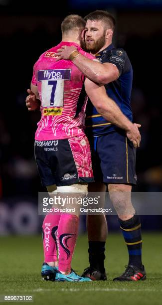 Exeter Chiefs' Matt Kvesic and Leinster's Sean O'Brien after the final whistle during the European Rugby Champions Cup match between Exeter Chiefs...