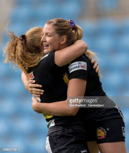 Exeter Chiefs' Olivia Jones celebrates scoring her sides first try during the Allianz Premier 15s match between Exeter Chiefs Women and Sale Sharks...