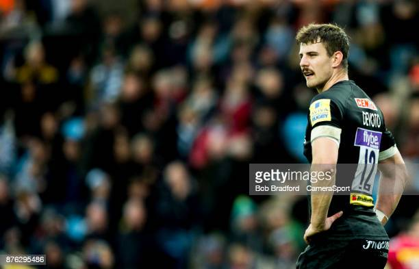 Exeter Chiefs' Ollie Devoto during the Aviva Premiership match between Exeter Chiefs and Harlequins at Sandy Park on November 19 2017 in Exeter...