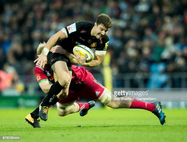 Exeter Chiefs' Ollie Devoto in action during todays match during the Aviva Premiership match between Exeter Chiefs and Harlequins at Sandy Park on...