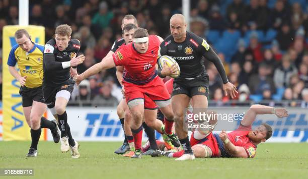 Exeter Chiefs Olly Woodburn takes the ball during the Aviva Premiership match between Exeter Chiefs and Worcester Warriors at Sandy Park on February...