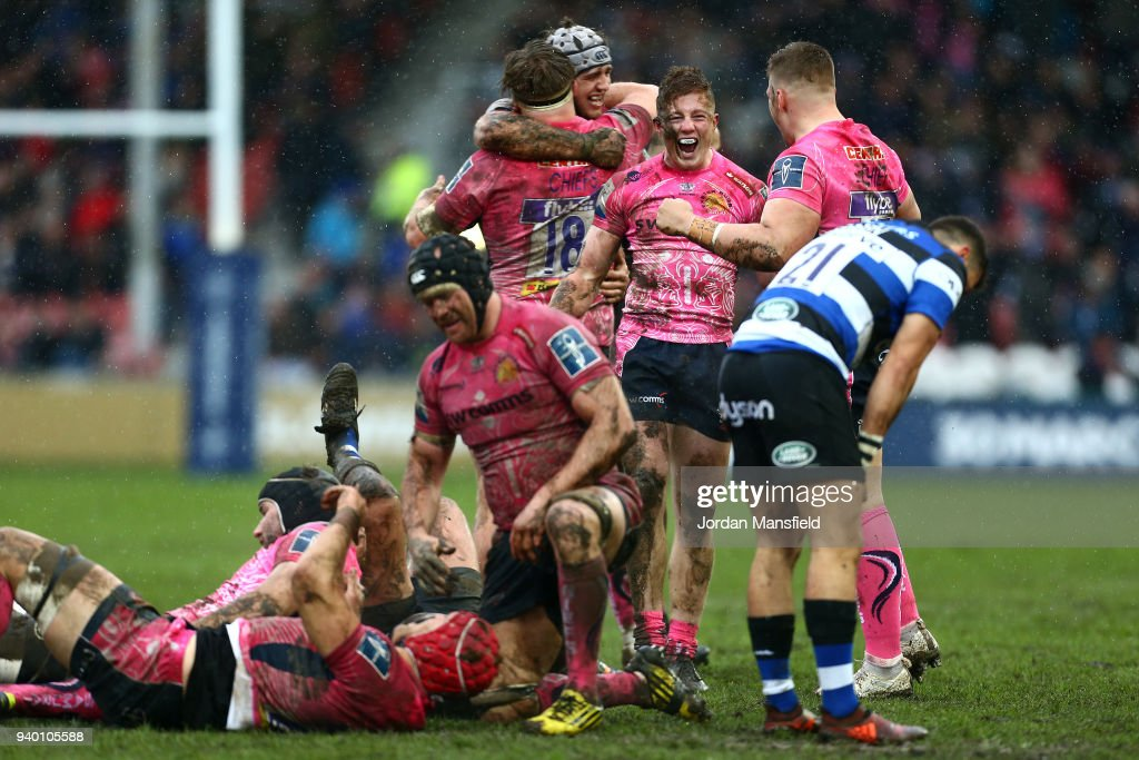 Exeter Chiefs players celebrate after winning the Anglo-Welsh Cup Final between Bath Rugby and Exeter Chiefs at Kingsholm Stadium on March 30, 2018 in Gloucester, England.