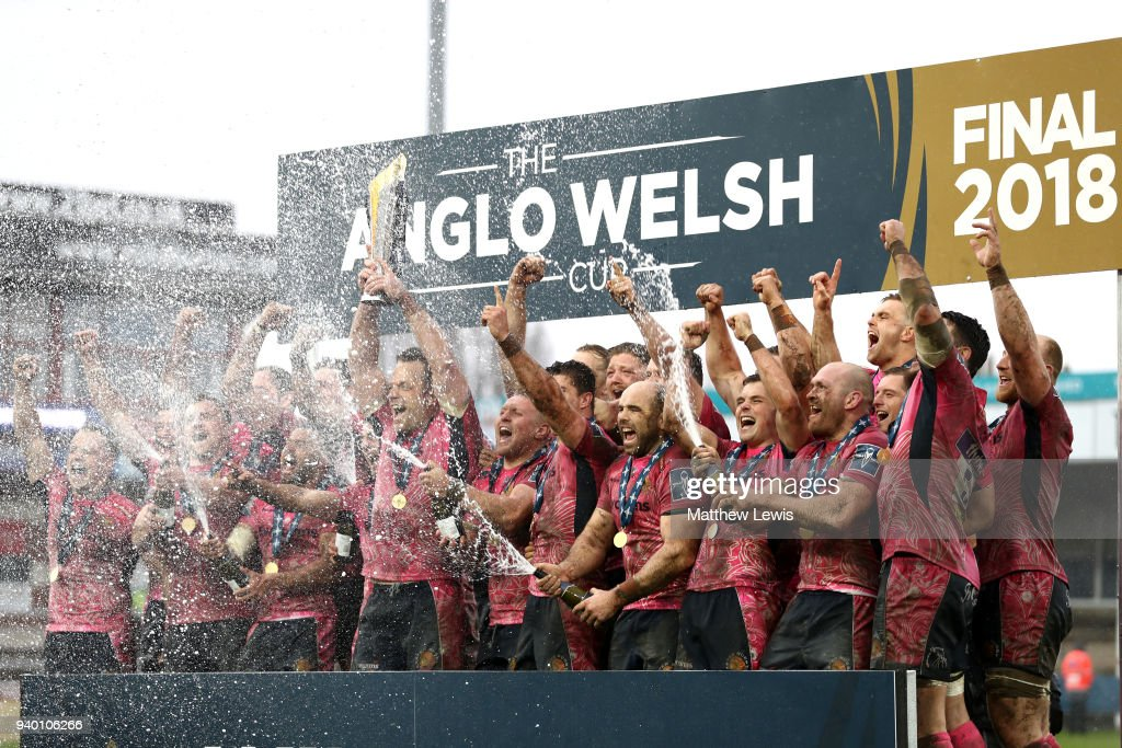Exeter Chiefs players celebrate winning the Anglo-Welsh Cup Final between Bath Rugby and Exeter Chiefs at Kingsholm Stadium on March 30, 2018 in Gloucester, England.