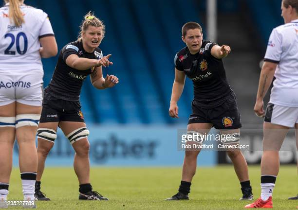 Exeter Chiefs' Rachel Johnson and Exeter Chiefs' Poppy Leitch during the Allianz Premier 15s match between Exeter Chiefs Women and Sale Sharks Women...