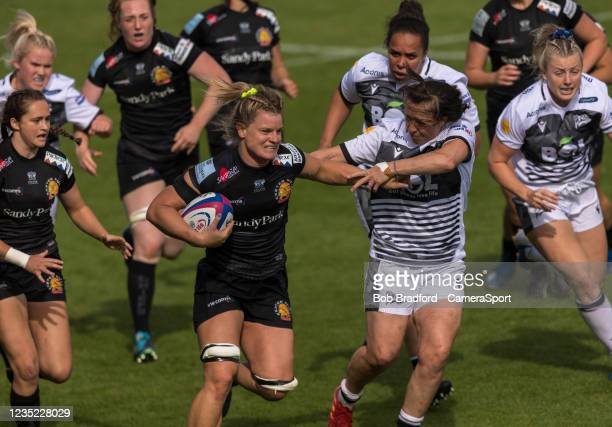 Exeter Chiefs' Rachel Johnson in action during the Allianz Premier 15s match between Exeter Chiefs Women and Sale Sharks Women at Sandy Park on...
