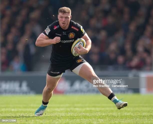 Exeter Chiefs' Sam Simmonds during the Aviva Premiership match between Exeter Chiefs and Gloucester Rugby at Sandy Park on April 8 2018 in Exeter...