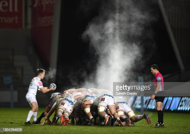 Exeter Chiefs scrum half Stu Townsend prepares to feed the scrum as the steam rises from the pack during the Gallagher Premiership Rugby match...