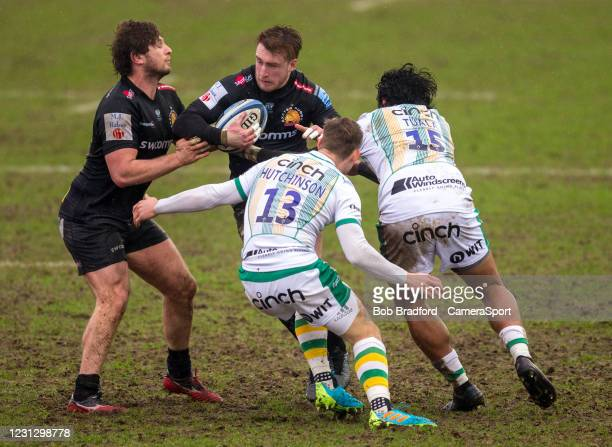 Exeter Chiefs' Stuart Hogg in action during the Gallagher Premiership Rugby match between Exeter Chiefs and Northampton Saints at Sandy Park on...