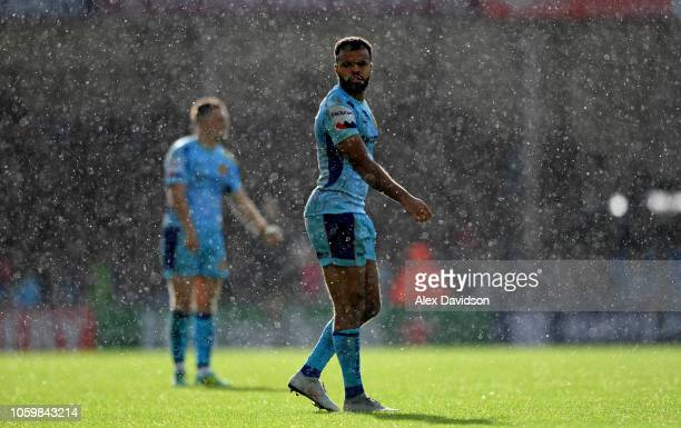 Exeter Chiefs' Tom OFlaherty looks on in the rain during the Premiership Rugby Cup match between Exeter Chiefs and Harlequins at Sandy Park on...