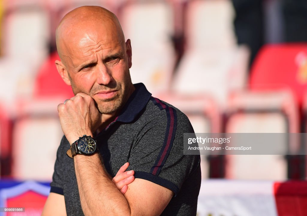 Exeter City manager Paul Tisdale during the pre-match warm-up prior to the Sky Bet League Two Play Off Semi Final:Second Leg between Exeter City and Lincoln City at St James Park on May 17, 2018 in Exeter, England.