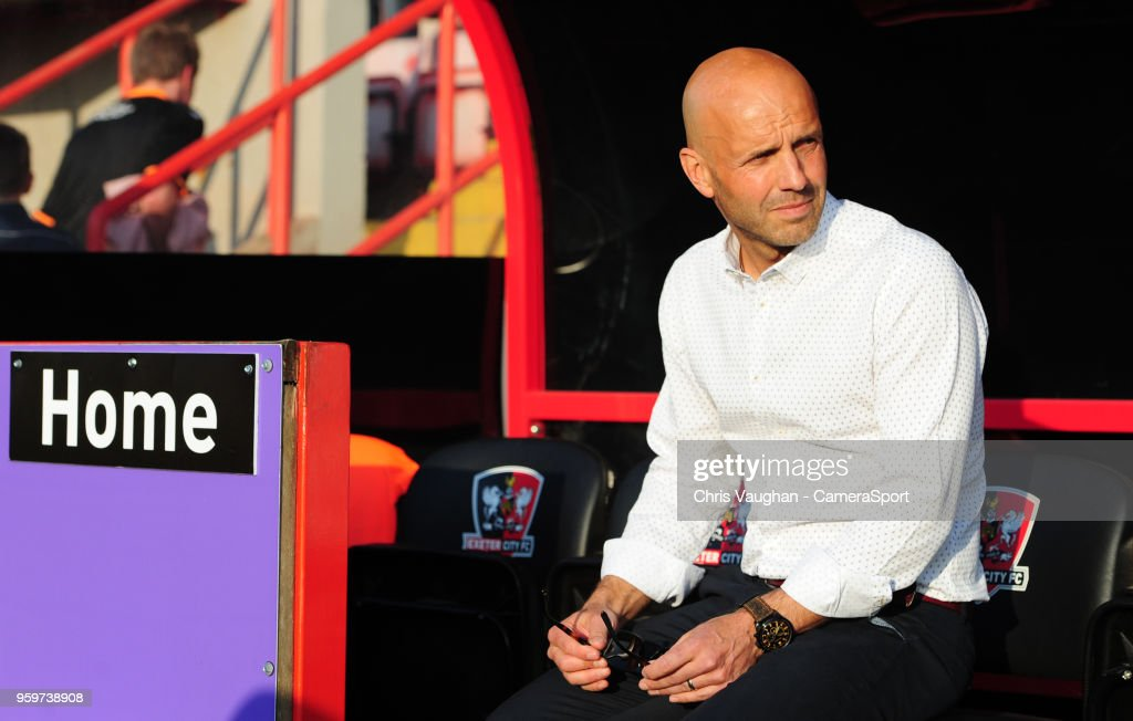 Exeter City manager Paul Tisdale prior to the Sky Bet League Two Play Off Semi Final:Second Leg between Exeter City and Lincoln City at St James Park on May 17, 2018 in Exeter, England.