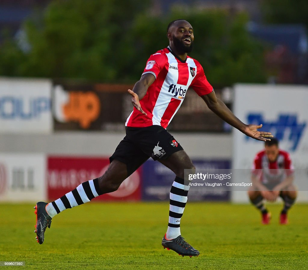 Exeter City's Hiram Boateng celebrates scoring his sides second goal during the Sky Bet League Two Play Off Semi Final:Second Leg between Exeter City and Lincoln City at St James Park on May 17, 2018 in Exeter, England.