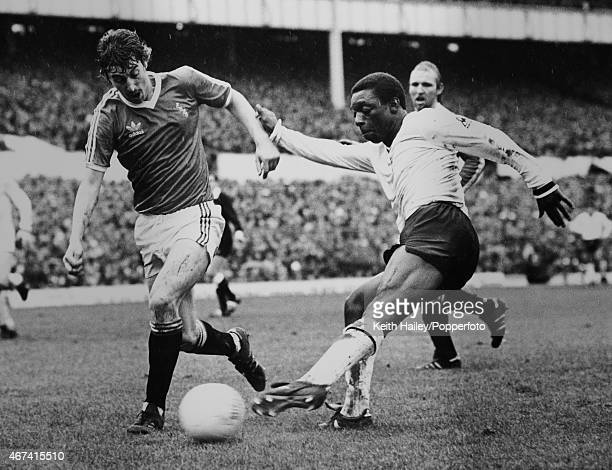 Exeter City's Lee Roberts blocks a shot from Tottenham Hotspur striker Garth Crooks during the FA Cup 6th round match betwen Tottenham Hotspur and...