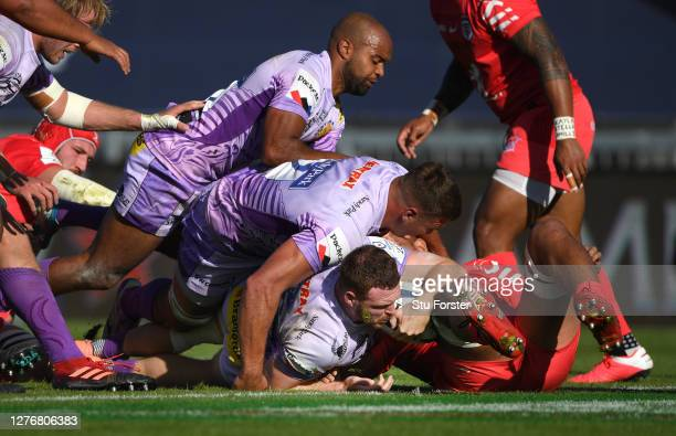 Exeter number 8 Sam Simmonds crosses over for the second Exeter try during the Heineken Champions Cup Semi Final match between Exeter and Toulouse at...