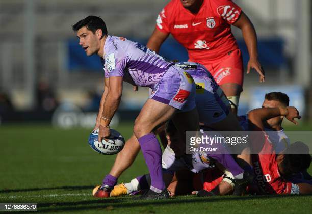 Exeter replacement scrum half Sam Hidalgo-Clyne in action during the Heineken Champions Cup Semi Final match between Exeter and Toulouse at Sandy...